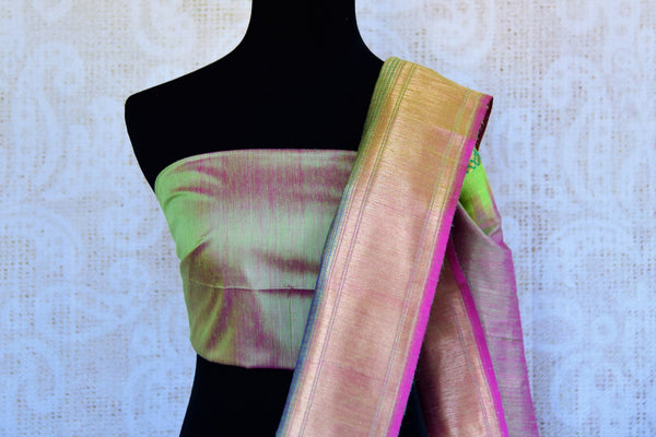 Buy bright green tussar Banarasi sari online in USA. Pure Elegance clothing store brings an exquisite variety of Indian woven Banarasi sarees in USA. Shop online.-blouse pallu