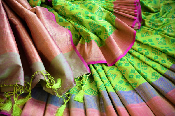 Buy bright green tussar Banarasi sari online in USA. Pure Elegance clothing store brings an exquisite variety of Indian woven Banarasi sarees in USA. Shop online.-details