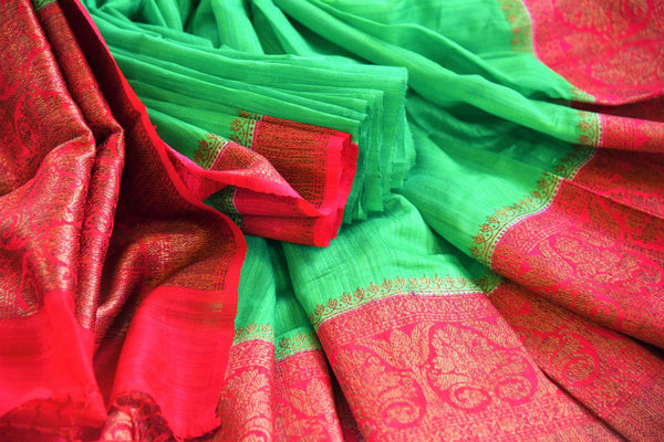Buy green tussar Banarasi saree with red zari border online in USA. Pure Elegance clothing store brings an exquisite variety of Indian woven Banarasi saris in USA. -details