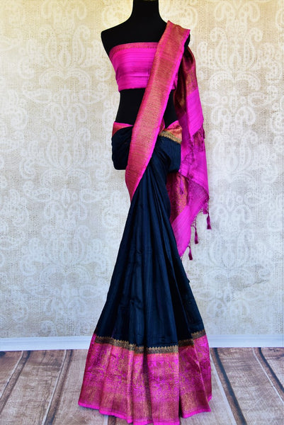 Buy black ghicha Banarasi saree with pink zari border online in USA. Pure Elegance clothing store brings an exquisite variety of Indian Banarasi sarees in USA. -full view