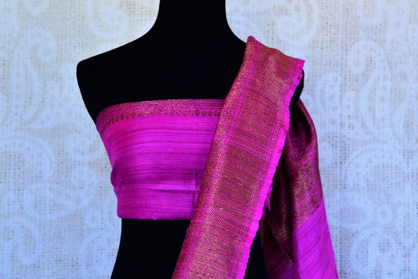 Buy black ghicha Banarasi saree with pink zari border online in USA. Pure Elegance clothing store brings an exquisite variety of Indian Banarasi sarees in USA. -blouse pallu