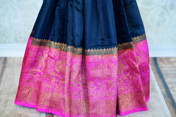 Buy black ghicha Banarasi saree with pink zari border online in USA. Pure Elegance clothing store brings an exquisite variety of Indian Banarasi sarees in USA. -pleats