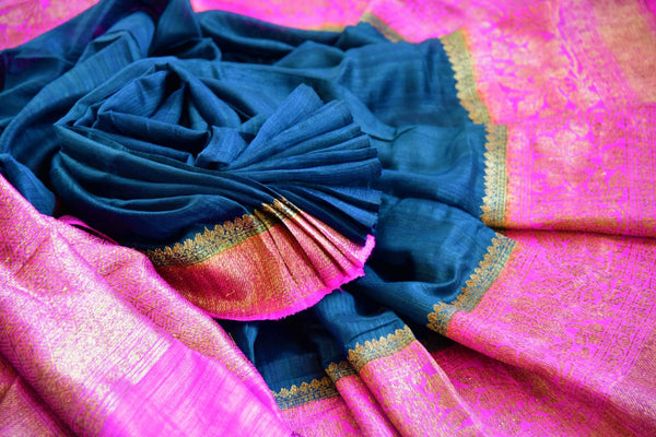 Buy black ghicha Banarasi saree with pink zari border online in USA. Pure Elegance clothing store brings an exquisite variety of Indian Banarasi sarees in USA. -details
