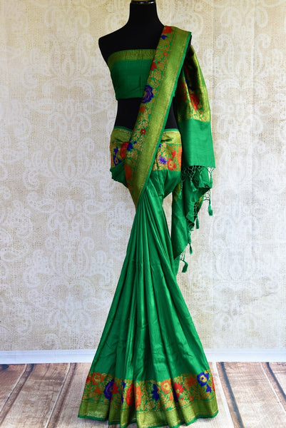 Buy green muga Banarasi saree online in USA. Choose from a range of exquisite ethnic Indian Banarasi sarees for weddings from Pure Elegance fashion store in USA.-full view