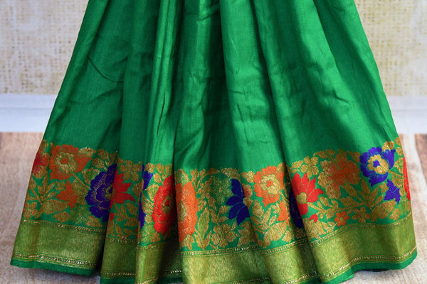 Buy green muga Banarasi saree online in USA. Choose from a range of exquisite ethnic Indian Banarasi sarees for weddings from Pure Elegance fashion store in USA.-pleats