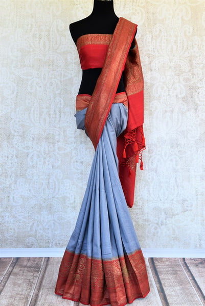 Buy light blue muga Banarasi saree with zari border online in USA. Choose from a range of exquisite Indian designer saris from Pure Elegance fashion store in USA.-full view