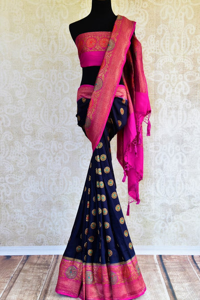 Buy dark blue muga Banarasi saree with zari border online in USA. Choose from a range of exquisite ethnic Indian woven sarees from Pure Elegance fashion store in USA.-full view