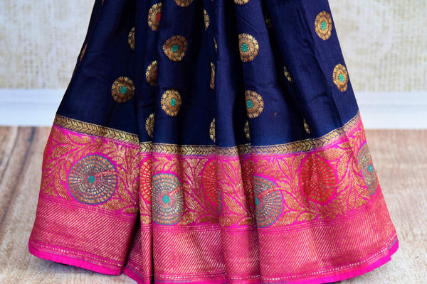 Buy dark blue muga Banarasi saree with zari border online in USA. Choose from a range of exquisite ethnic Indian woven sarees from Pure Elegance fashion store in USA.-pleats