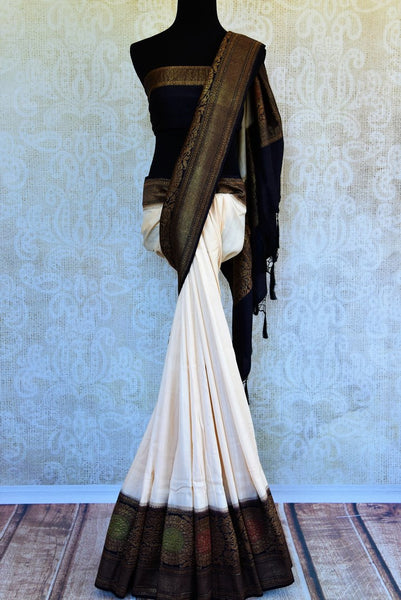 Buy off white muga Banarasi saree with black zari border online in USA. Choose from a range of exquisite ethnic Indian woven sarees from Pure Elegance store in USA.-full view