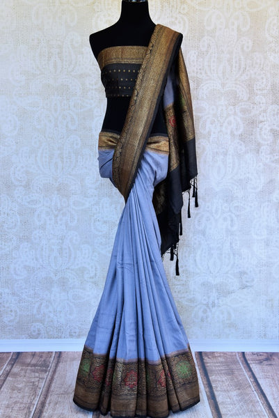 Buy blue muga Banarasi saree with black zari border online in USA. Choose from a range of exquisite ethnic Indian woven sarees from Pure Elegance store in USA.-full view
