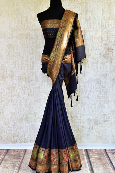 Buy dark blue muga Banarasi saree with zari border online in USA. Choose from a range of exquisite ethnic Indian Banarasi sarees from Pure Elegance store in USA.-full view