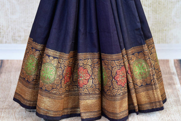 Buy dark blue muga Banarasi saree with zari border online in USA. Choose from a range of exquisite ethnic Indian Banarasi sarees from Pure Elegance store in USA.-pleats