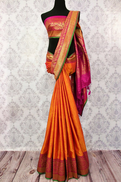 Buy orange tassar Banarasi saree online in USA at Pure Elegance. Choose your favorite Indian Banarasi woven sarees for weddings from our fashion store in USA.-full view