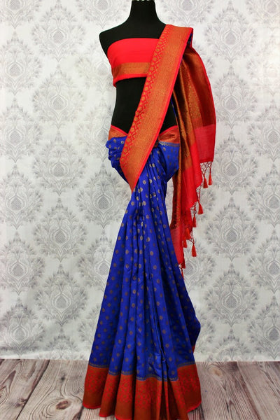 Buy online blue tassar Banarasi saree with zari border in USA at Pure Elegance. Choose from traditional Indian Banarasi woven sarees from our fashion store in USA.-full view