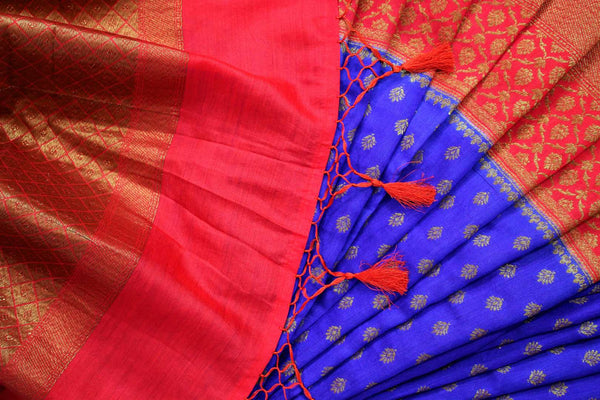 Buy online blue tassar Banarasi saree with zari border in USA at Pure Elegance. Choose from traditional Indian Banarasi woven sarees from our fashion store in USA.-details
