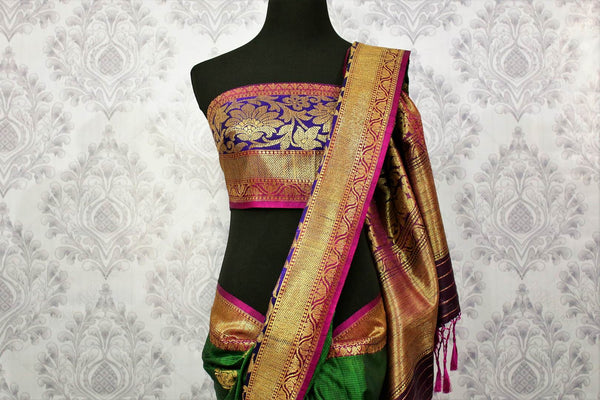 Buy online green tassar Banarasi saree with zari border in USA at Pure Elegance. Choose from traditional Indian Banarasi woven saris from our fashion store in USA.-blouse pallu