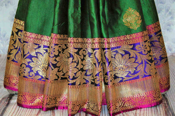 Buy online green tassar Banarasi saree with zari border in USA at Pure Elegance. Choose from traditional Indian Banarasi woven saris from our fashion store in USA.-pleats