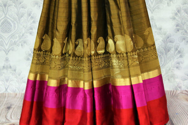 Buy brown Banarasi silk saree online in USA at Pure Elegance. Choose from traditional Indian Banarasi sarees for weddings and festivals from our fashion store in USA.-pleats