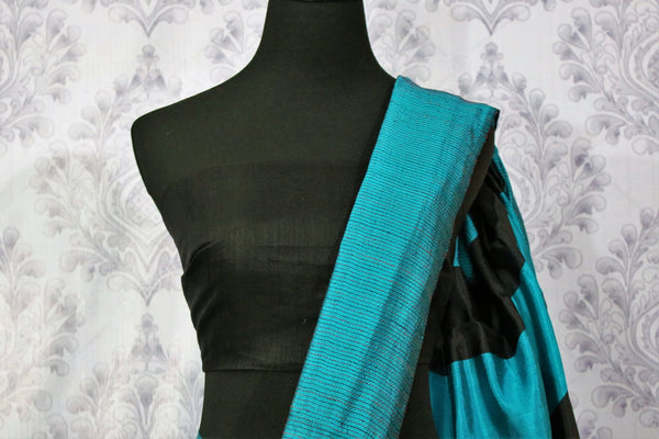 Buy blue matka silk saree with black striped pallu online in USA. Pure Elegance fashion store brings a stunning variety of Indian woven matka silk saris in USA.-blouse pallu