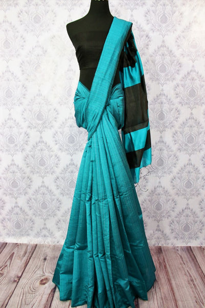 Buy blue matka silk saree with black striped pallu online in USA. Pure Elegance fashion store brings a stunning variety of Indian woven matka silk saris in USA.-full view