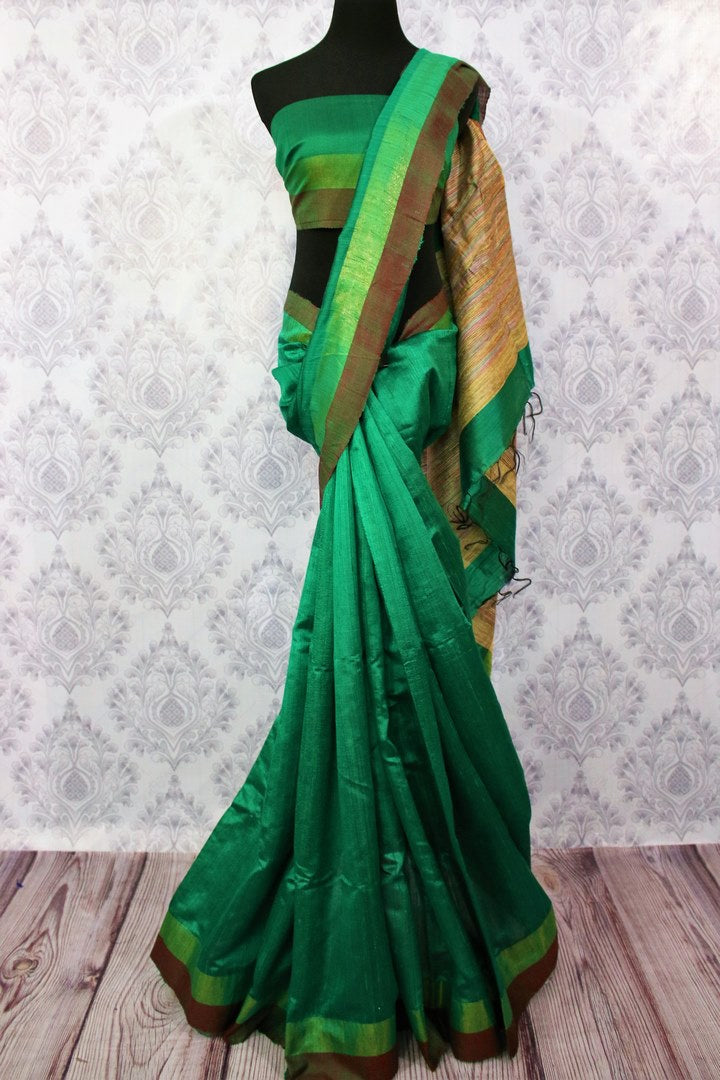 Buy green Bhagalpur tassar silk saree online in USA. Choose from a stunning range of stylish Indian woven silk sarees at Pure Elegance store in USA or shop online.-full view