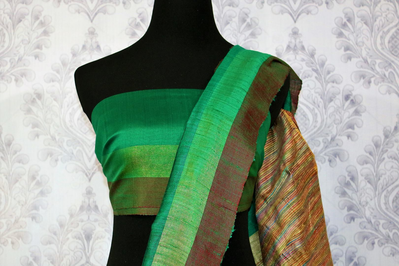 Buy green Bhagalpur tassar silk saree online in USA. Choose from a stunning range of stylish Indian woven silk sarees at Pure Elegance store in USA or shop online.-blouse pallu
