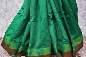 Buy green Bhagalpur tassar silk saree online in USA. Choose from a stunning range of stylish Indian woven silk sarees at Pure Elegance store in USA or shop online.-pleats