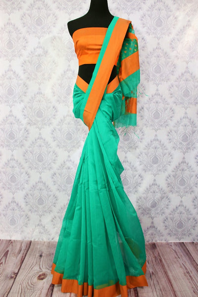 Buy green chanderi silk saree online in USA. Pure Elegance fashion store brings a stunning range of ethnic Indian designer sarees for weddings and parties in USA.-full view