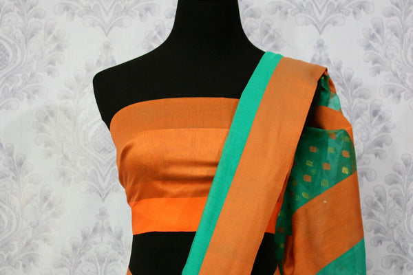 Buy green chanderi silk saree online in USA. Pure Elegance fashion store brings a stunning range of ethnic Indian designer sarees for weddings and parties in USA.-blouse pallu