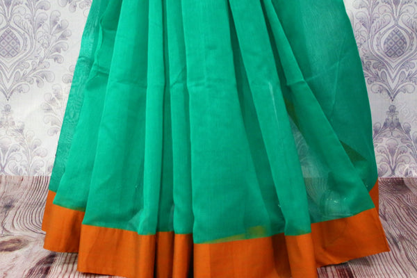 Buy green chanderi silk saree online in USA. Pure Elegance fashion store brings a stunning range of ethnic Indian designer sarees for weddings and parties in USA.-pleats