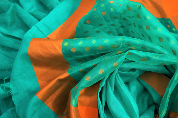 Buy green chanderi silk saree online in USA. Pure Elegance fashion store brings a stunning range of ethnic Indian designer sarees for weddings and parties in USA.-details