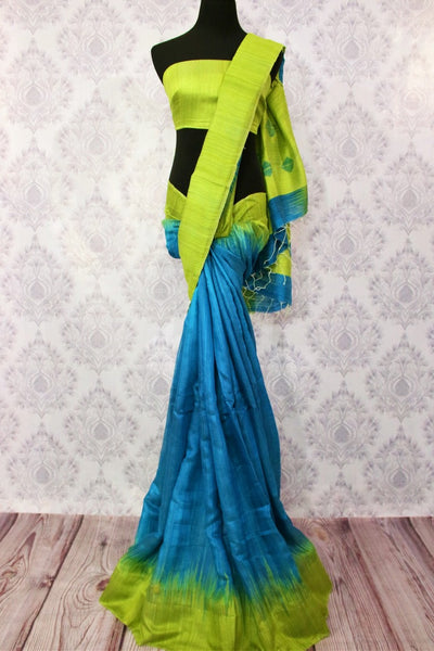 Buy blue matka silk sari with green border online in USA. Pure Elegance fashion store brings a stunning range of ethnic Indian designer saris for weddings in USA.-full view
