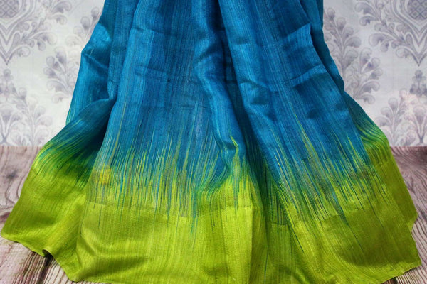 Buy blue matka silk sari with green border online in USA. Pure Elegance fashion store brings a stunning range of ethnic Indian designer saris for weddings in USA.-pleats