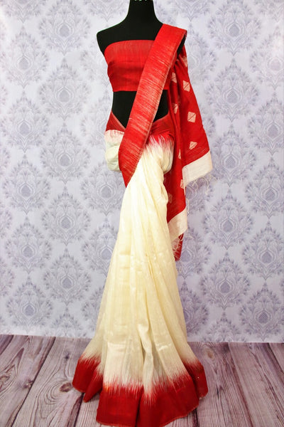 Buy white matka silk saree with red border online in USA. Pure Elegance fashion store brings a stunning range of ethnic Indian designer sarees for weddings in USA.-full view