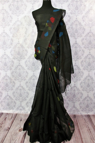 Buy black matka silk saree online in USA. Choose from a stunning range of traditional Indian silk sarees for weddings at Pure Elegance store in USA or shop online.-full view