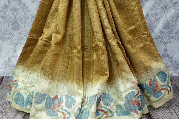 Buy golden beige matka silk saree online in USA. Pure Elegance fashion store brings a stunning range of traditional Indian Matka silk saris for weddings and parties in USA.-pleats