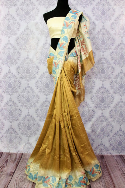 Buy golden beige matka silk saree online in USA. Pure Elegance fashion store brings a stunning range of traditional Indian Matka silk saris for weddings and parties in USA.-full view