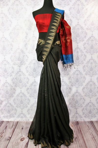 Buy black and red matka silk sari online in USA. Pure Elegance fashion store brings a stunning variety of Indian woven matka silk sarees in USA for women. Shop now.-full view