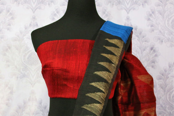 Buy black and red matka silk sari online in USA. Pure Elegance fashion store brings a stunning variety of Indian woven matka silk sarees in USA for women. Shop now.-blouse pallu