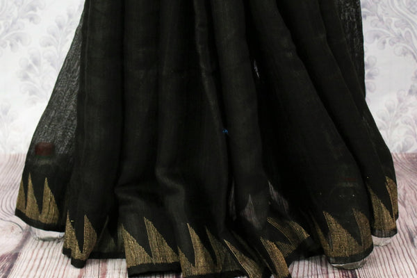 Buy black and red matka silk sari online in USA. Pure Elegance fashion store brings a stunning variety of Indian woven matka silk sarees in USA for women. Shop now.-pleats