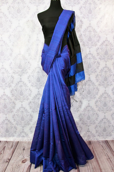 Buy ink blue matka silk saree with black striped pallu online in USA. Pure Elegance fashion store brings a stunning variety of Indian woven silk sarees in USA. Shop now.-full view