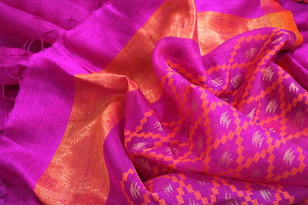 Buy dark pink matka silk saree online in USA. Pure Elegance fashion store brings a stunning range of traditional Indian woven silk sarees for weddings and parties in USA.-details