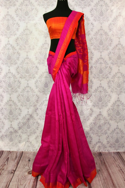 Buy dark pink matka silk saree online in USA. Pure Elegance fashion store brings a stunning range of traditional Indian woven silk sarees for weddings and parties in USA.-full view