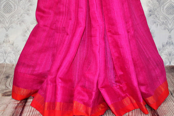 Buy dark pink matka silk saree online in USA. Pure Elegance fashion store brings a stunning range of traditional Indian woven silk sarees for weddings and parties in USA.-pleats
