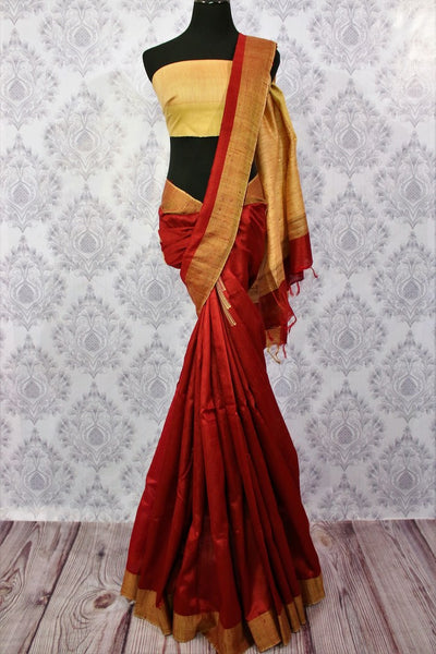 Buy maroon matka silk saree online in USA. Choose from an exquisite range of Indian woven silk sarees for weddings at Pure Elegance store in USA or shop online.-full view