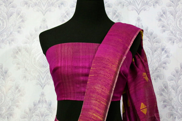 Buy green matka silk saree online in USA. Pure Elegance fashion store brings a stunning range of ethnic Indian designer sarees for weddings and parties in USA.-blouse pallu