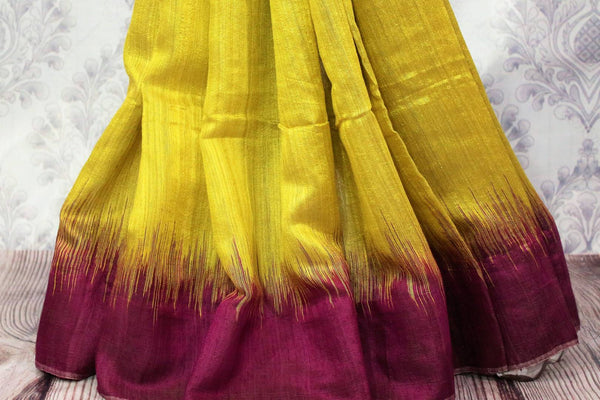 Buy green matka silk saree online in USA. Pure Elegance fashion store brings a stunning range of ethnic Indian designer sarees for weddings and parties in USA.-pleats