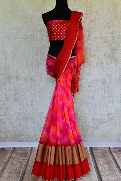 Buy pink chiffon saree with shiburi Banarasi blouse online in USA. Pure Elegance clothing store brings an exquisite range of Indian designer sarees in USA for women. -full view