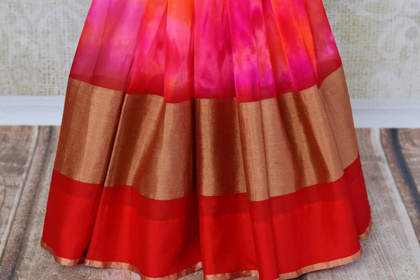 Buy pink chiffon saree with shiburi Banarasi blouse online in USA. Pure Elegance clothing store brings an exquisite range of Indian designer sarees in USA for women. -pleats