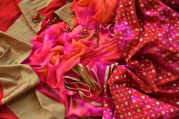 Buy pink chiffon saree with shiburi Banarasi blouse online in USA. Pure Elegance clothing store brings an exquisite range of Indian designer sarees in USA for women. -details